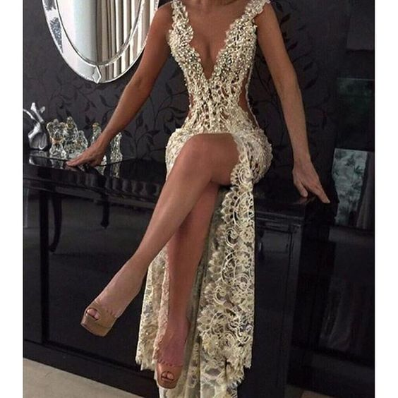 a97c1b020a56 Sexy Lace Prom Dresses Sheer Plunging Neck Front Slit Evening Dress ...