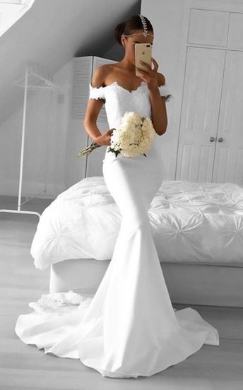 02606666f1f White Mermaid Prom Dresses Off-the-Shoulder Lace Long Formal Dresses ...