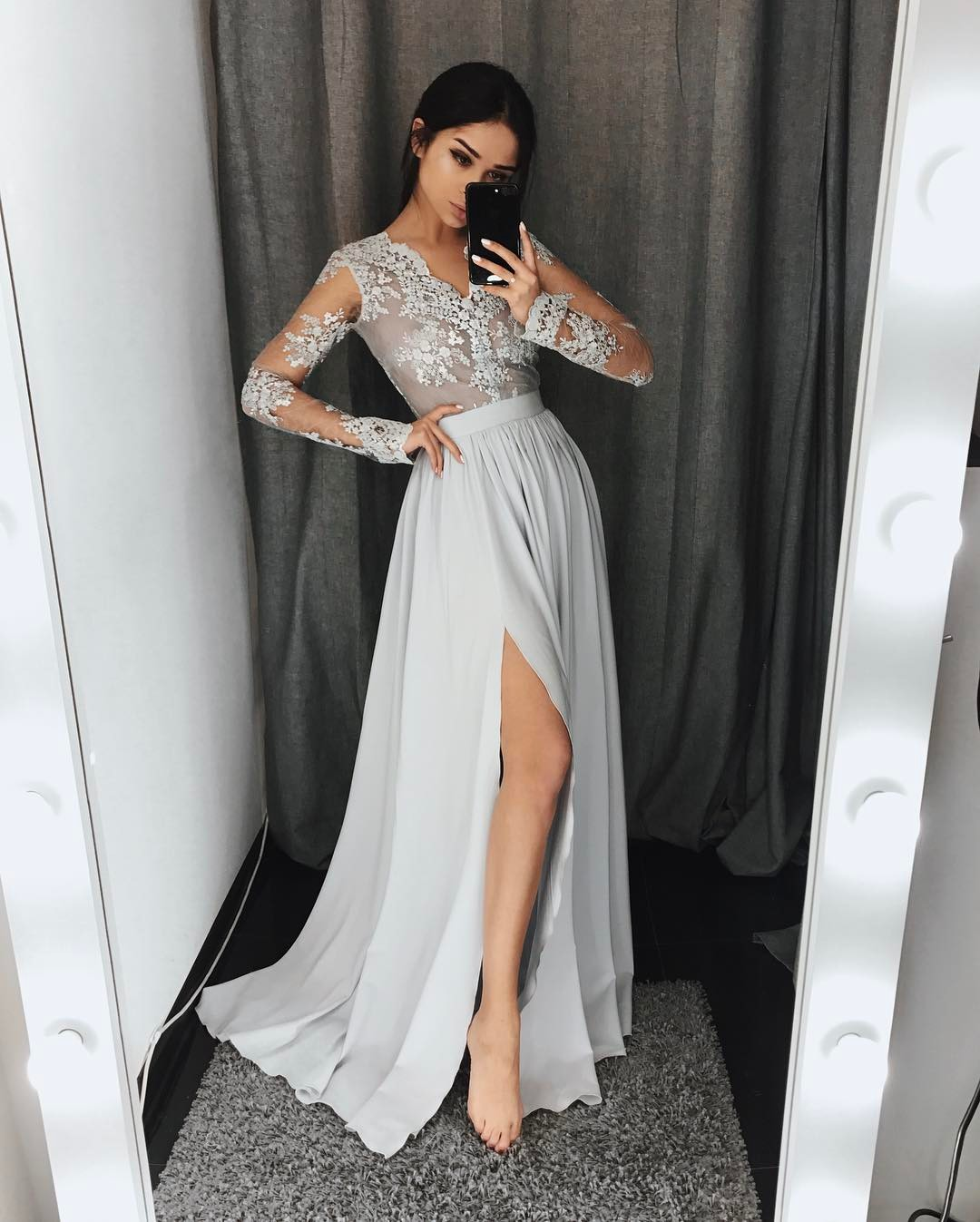 a658829e712 Elegant Chiffon Prom Dresses Lace Long Sleeves Side Slit Grey Evening Gowns