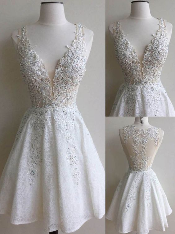 6e51b9e8459 Elegant White Homecoming Dresses Lace Beading V-Neck A-line Short Prom  Dresses