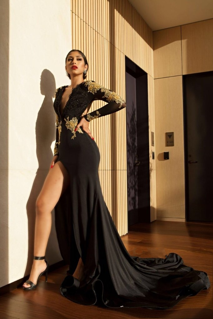 Amazing Black Gold Prom Dresses High Side Slit Evening Gowns On Luulla