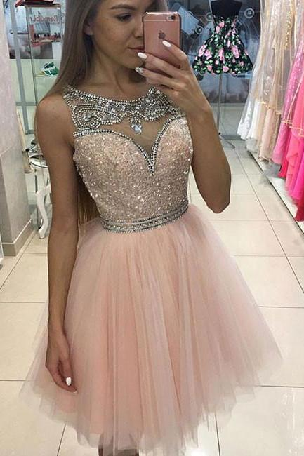 Pink Crystals Homecoming Dresses Tulle Shiny Short Graduation Dress for Teens