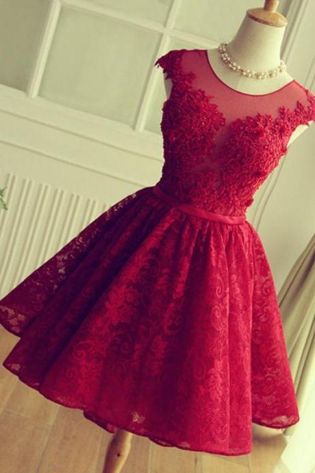 Burgundy Lace Beading Homecoming Dresses Capped Sleeves Open Back Short Prom Dress