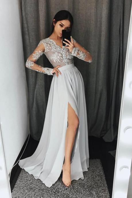 Elegant Chiffon Prom Dresses Lace Long Sleeves Side Slit Grey Evening Gowns