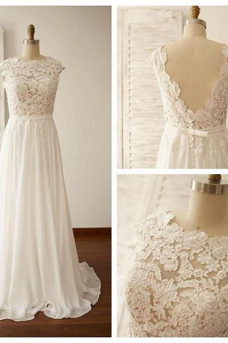 Simple Beach Wedding Gowns Lace Backless Capped Sleeves A-line Bridal Dresses