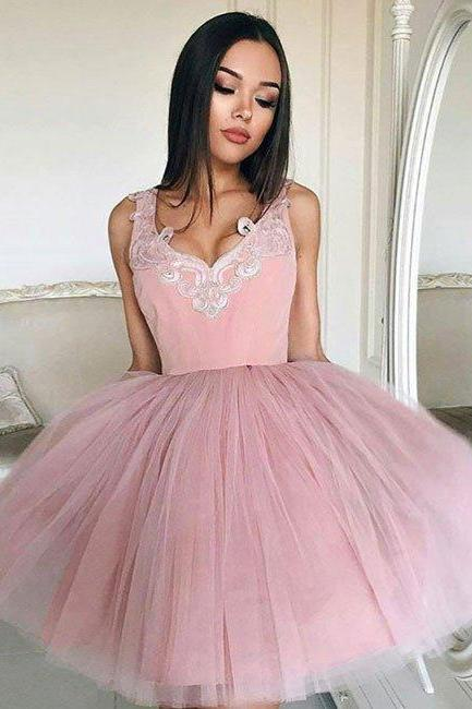 Dusty Pink Homecoming Dresses Straps Appliques Tulle Short Prom Dresses