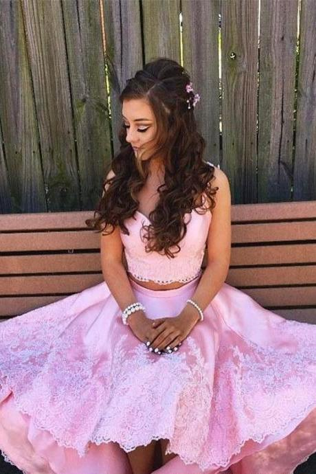 Pink Two-Piece Homecoming Dresses Cute Hi-Lo Lace Appliques Cocktail Dress