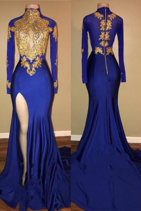 Royal Blue Gold Prom Dresses, Long Sleeves Side Slit Evening Gowns