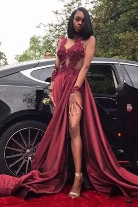 Sexy Sheer Burgundy Prom Dresses , Long Sleeves High Slit Party Dresses