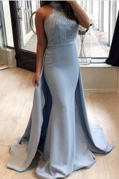 Amazing Blue Mermaid Prom Dresses, High Neck Evening Gowns with Overskirt