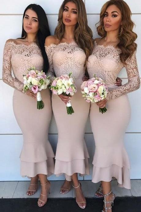 Pink Lace Mermaid Bridesmaid Dresses, Off-the-Shoulder Long Sleeves Wedding Party Dresses