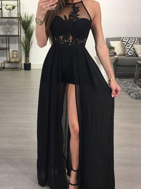 4896bf4ed4 Black Hi-Lo Prom Dresses Halter Neck Sheer Chiffon Long Party Dress on  Luulla